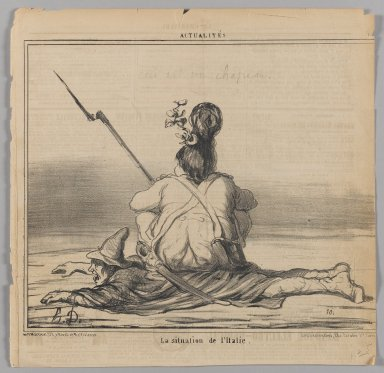 Honoré Daumier (French, 1808-1879). <em>La Situation de l'Italie</em>, February 21, 1859. Lithograph on newsprint, Sheet: 11 5/16 x 11 5/8 in. (28.7 x 29.5 cm). Brooklyn Museum, Gift of Shelley and David Garfinkel, 1996.225.48 (Photo: Brooklyn Museum, 1996.225.48_PS1.jpg)