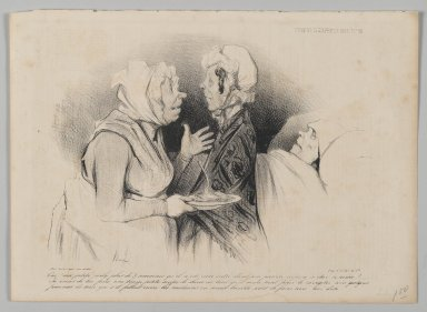Honoré Daumier (French, 1808-1879). <em>Oui! Ma Petite...</em>, June 30, 1838. Lithograph on newsprint, 10 x 13 13/16 in. (25.4 x 35.1 cm). Brooklyn Museum, Gift of Shelley and David Garfinkel, 1996.225.49 (Photo: Brooklyn Museum, 1996.225.49_PS2.jpg)