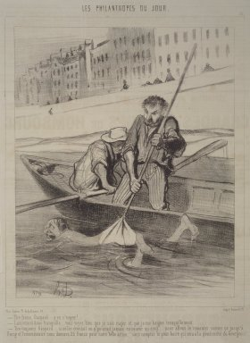 Honoré Daumier (French, 1808-1879). <em>Pull, Gaspard, Pull!  (Tire ferme, Gaspard.... y va s'neyer!)</em>, November 13, 1844. Lithograph on newsprint, Sheet: 13 7/8 x 9 13/16 in. (35.2 x 24`. Brooklyn Museum, Gift of Shelley and David Garfinkel, 1996.225.5 (Photo: Brooklyn Museum, 1996.225.5.jpg)