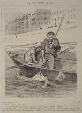 Honoré Daumier (French, 1808-1879). <em>Pull, Gaspard, Pull!  (Tire ferme, Gaspard.... y va s'neyer!)</em>, November 13, 1844. Lithograph on newsprint, Sheet: 13 7/8 x 9 13/16 in. (35.2 x 24`. Brooklyn Museum, Gift of Shelley and David Garfinkel, 1996.225.5 (Photo: Brooklyn Museum, 1996.225.5.jpg)