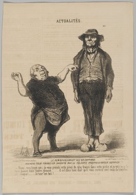 Honoré Daumier (French, 1808-1879). <em>Le Remboursement des 45 Centimes</em>, March 25, 1851. Lithograph on newsprint, Sheet: 14 1/8 x 9 3/4 in. (35.9 x 24.8 cm). Brooklyn Museum, Gift of Shelley and David Garfinkel, 1996.225.51 (Photo: Brooklyn Museum, 1996.225.51_PS2.jpg)