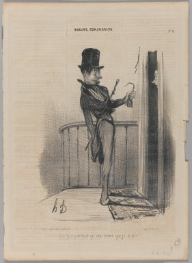 Honoré Daumier (French, 1808-1879). <em>Il n'y a pourtant qu'une heure que je le tire!</em>, November 5, 1839. Lithograph on newsprint, 13 3/4 x 9 15/16 in. (34.9 x 25.2 cm). Brooklyn Museum, Gift of Shelley and David Garfinkel, 1996.225.52 (Photo: Brooklyn Museum, 1996.225.52_PS1.jpg)
