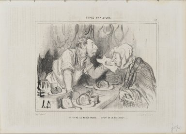 Honoré Daumier (French, 1808-1879). <em>You Sniff the Merchandise...Before Buying It (On flaire la marchandise...avant de la mécaniser!...)</em>, July 27, 1842. Lithograph on newsprint, Sheet: 9 13/16 x 13 13/16 in. (24.9 x 35.1 cm). Brooklyn Museum, Gift of Shelley and David Garfinkel, 1996.225.53 (Photo: Brooklyn Museum, 1996.225.53_PS2.jpg)