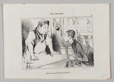 "Honoré Daumier (French, 1808-1879). <em>""Aureriez vous de l'huile de Cotterêts!...,""</em> August 23, 1842. Lithograph on newsprint, Image: 6 7/16 x 9 1/4 in. (16.3 x 23.5 cm). Brooklyn Museum, Gift of Shelley and David Garfinkel, 1996.225.54 (Photo: Brooklyn Museum, 1996.225.54_PS2.jpg)"