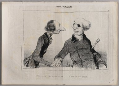 "Honoré Daumier (French, 1808-1879). <em>""Vous êtes un jeune homme bien né!...,""</em> June 3, 1841. Lithograph on newsprint, Sheet: 9 7/8 x 13 13/16 in. (25.1 x 35.1 cm). Brooklyn Museum, Gift of Shelley and David Garfinkel, 1996.225.55 (Photo: Brooklyn Museum, 1996.225.55_PS1.jpg)"