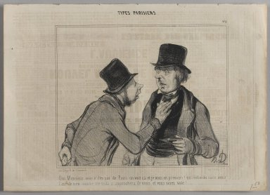 "Honoré Daumier (French, 1808-1879). <em>""Oui Monsieur vous n'êtes pas de Paris on voit ca et je vous en préviens!...,""</em> August 1, 1841. Lithograph on newsprint, Sheet: 9 15/16 x 13 3/4 in. (25.3 x 35 cm). Brooklyn Museum, Gift of Shelley and David Garfinkel, 1996.225.56 (Photo: Brooklyn Museum, 1996.225.56_PS1.jpg)"
