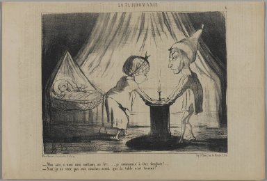 Honoré Daumier (French, 1808-1879). <em>My Friend, How About Going to Bed...(Mon ami, si nous nous mettions au lit...)</em>, June 6, 1853. Lithograph on newsprint, Sheet: 9 11/16 x 14 5/16 in. (24.6 x 36.4 cm). Brooklyn Museum, Gift of Shelley and David Garfinkel, 1996.225.57 (Photo: Brooklyn Museum, 1996.225.57_PS1.jpg)