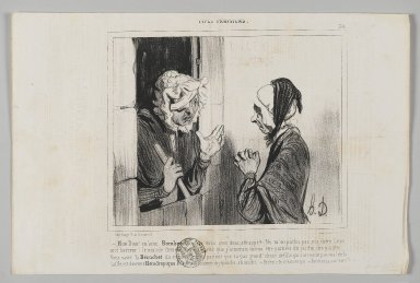 "Honoré Daumier (French, 1808-1879). <em>""Mon Dieu! M'ame Bombec, qué que vous avez donc attrapé?...,""</em> June 11, 1842. Lithograph on newsprint, Sheet: 9 15/16 x 15 1/16 in. (25.2 x 38.3 cm). Brooklyn Museum, Gift of Shelley and David Garfinkel, 1996.225.60 (Photo: Brooklyn Museum, 1996.225.60_PS2.jpg)"