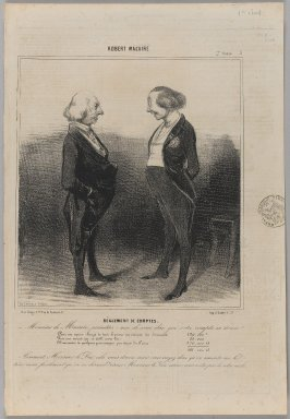 Honoré Daumier (French, 1808-1879). <em>Réglement de Comptes</em>, March 28, 1841. Lithograph on newsprint, Sheet: 14 3/16 x 9 13/16 in. (36 x 25 cm). Brooklyn Museum, Gift of Shelley and David Garfinkel, 1996.225.61 (Photo: Brooklyn Museum, 1996.225.61_PS1.jpg)