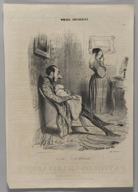 "Honoré Daumier (French, 1808-1879). <em>""Cré nom!......Si on réfléchissait!......,""</em> November 6, 1839. Lithograph on newsprint, Image: 13 3/4 x 9 1/2 in. (35 x 24.2 cm). Brooklyn Museum, Gift of Shelley and David Garfinkel, 1996.225.62 (Photo: Brooklyn Museum, 1996.225.62_PS1.jpg)"