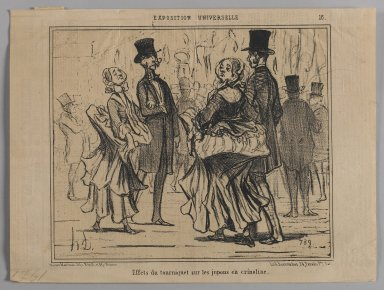 "Honoré Daumier (French, 1808-1879). <em>""Effets du tourniquet sur les jupons en crinoline,""</em> June 25, 1855. Lithograph on newsprint, Sheet: 9 9/16 x 12 11/16 in. (24.3 x 32.3 cm). Brooklyn Museum, Gift of Shelley and David Garfinkel, 1996.225.63 (Photo: Brooklyn Museum, 1996.225.63_PS1.jpg)"