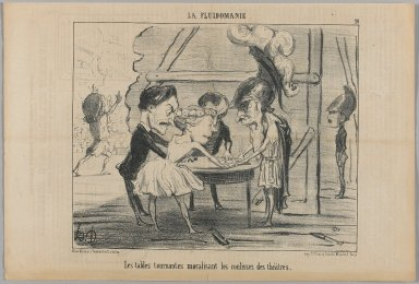 Honoré Daumier (French, 1808-1879). <em>The Turning Tables Are Contributing To The Atmosphere in the Wings of the Theater (Les tables tournantes moralisant les coulisses des théâtres)</em>, June 13, 1853. Lithograph, Sheet: 9 11/16 x 14 5/16 in. (24.6 x 36.4 cm). Brooklyn Museum, Gift of Shelley and David Garfinkel, 1996.225.67 (Photo: Brooklyn Museum, 1996.225.67_PS1.jpg)
