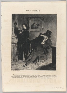 "Honoré Daumier (French, 1808-1879). <em>""Plus souvent que je te conduirai encore au bal de l'Opéra!...,""</em> January 16, 1845. Lithograph on newsprint, Sheet: 13 7/8 x 10 in. (35.2 x 25.4 cm). Brooklyn Museum, Gift of Shelley and David Garfinkel, 1996.225.68 (Photo: Brooklyn Museum, 1996.225.68_PS1.jpg)"