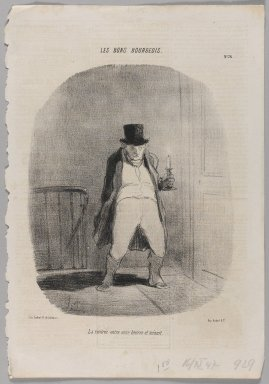 Honoré Daumier (French, 1808-1879). <em>La Rentrée Entre Onze Heures et Minuit</em>, November 16, 1847. Lithograph on newsprint, Image: 14 3/8 x 9 13/16 in. (36.5 x 25 cm). Brooklyn Museum, Gift of Shelley and David Garfinkel, 1996.225.69 (Photo: Brooklyn Museum, 1996.225.69_PS1.jpg)