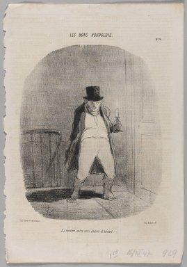 Honoré Daumier (French, 1808-1879). <em>La Rentrée Entre Onze Heures et Minuit</em>, November 16, 1847. Lithograph on newsprint, Image: 14 3/8 x 9 13/16 in. (36.5 x 25 cm). Brooklyn Museum, Gift of Shelley and David Garfinkel, 1996.225.69 (Photo: Brooklyn Museum, 1996.225.69_PS1.jpg)