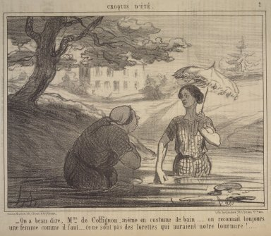 Honoré Daumier (French, 1808-1879). <em>You Surely Agree, Madame de Coffignon....(On a beau dire, Mme de Coffignon....)</em>, July 8, 1856. Lithograph on newsprint, Image: 9 5/8 x 14 5/16 in. (24.5 x 36.3 cm). Brooklyn Museum, Gift of Shelley and David Garfinkel, 1996.225.7 (Photo: Brooklyn Museum, 1996.225.7.jpg)