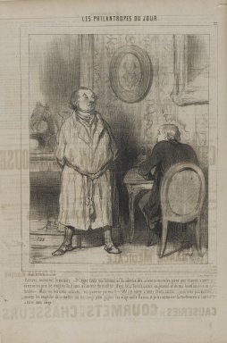 "Honoré Daumier (French, 1808-1879). <em>""Écrivez, monsieur le notaire:  je lègue...,""</em> March 8, 1845. Lithograph on newsprint, Sheet: 14 5/16 x 9 11/16 in. (36.4 x 24.6 cm). Brooklyn Museum, Gift of Shelley and David Garfinkel, 1996.225.70 (Photo: Brooklyn Museum, 1996.225.70_PS1.jpg)"