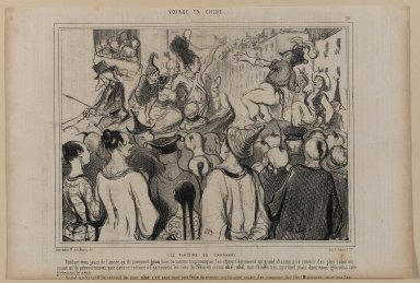 Honoré Daumier (French, 1808-1879). <em>Les Plaisirs du Carnaval</em>, January 30, 1845. Lithograph on newsprint, Sheet: 9 5/8 x 14 3/8 in. (24.4 x 36.5 cm). Brooklyn Museum, Gift of Shelley and David Garfinkel, 1996.225.71 (Photo: Brooklyn Museum, 1996.225.71_PS1.jpg)