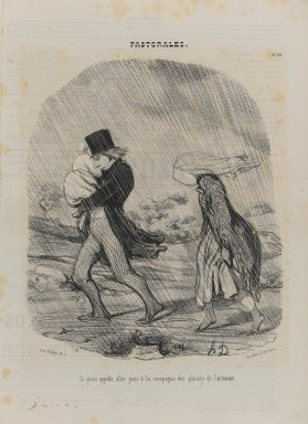 Honoré Daumier (French, 1808-1879). <em>Ce Qu'on Appelle, Aller Jouir à la Campagne des Plaisirs de l'Automne</em>, November 29, 1845. Lithograph on newsprint, Sheet: 14 1/4 x 10 5/16 in. (36.2 x 26.2 cm). Brooklyn Museum, Gift of Shelley and David Garfinkel, 1996.225.73 (Photo: Brooklyn Museum, 1996.225.73_PS1.jpg)