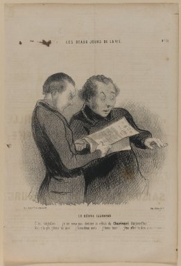 Honoré Daumier (French, 1808-1879). <em>Le Rébus Illustré</em>, January 24, 1845. Lithograph on newsprint, Sheet: 14 5/16 x 9 11/16 in. (36.4 x 24.6 cm). Brooklyn Museum, Gift of Shelley and David Garfinkel, 1996.225.74 (Photo: Brooklyn Museum, 1996.225.74_PS1.jpg)