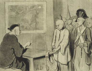Honoré Daumier (French, 1808-1879). <em>Le Code Pénal</em>, May 25, 1845. Lithograph on newsprint, Sheet: 9 5/8 x 14 3/8 in. (24.4 x 36.5 cm). Brooklyn Museum, Gift of Shelley and David Garfinkel, 1996.225.75 (Photo: Brooklyn Museum, 1996.225.75_PS2.jpg)