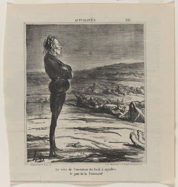 Honoré Daumier (French, 1808-1879). <em>Le Rêve de l'Inventeur du Fusil À Aiguilles, le Jour de la Toussaint</em>, November 1, 1866. Lithograph on newsprint, Sheet: 13 1/2 x 9 1/2 in. (34.3 x 24.1 cm). Brooklyn Museum, Gift of Shelley and David Garfinkel, 1996.225.76 (Photo: Brooklyn Museum, 1996.225.76_PS1.jpg)