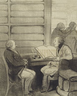 "Honoré Daumier (French, 1808-1879). <em>""Oui, mon cher Monsieur Badoulard...je vais...,""</em> February 26, 1845. Lithograph on newsprint, Sheet: 14 5/16 x 9 7/16 in. (36.4 x 24 cm). Brooklyn Museum, Gift of Shelley and David Garfinkel, 1996.225.77 (Photo: Brooklyn Museum, 1996.225.77_PS2.jpg)"
