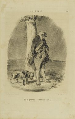 Honoré Daumier (French, 1808-1879). <em>Si Je Pouvais Chasser la Pluie!</em>, September 24, 1843. Lithograph on newsprint, Sheet: 14 3/8 x 9 1/16 in. (36.5 x 23 cm). Brooklyn Museum, Gift of Shelley and David Garfinkel, 1996.225.78 (Photo: Brooklyn Museum, 1996.225.78_PS2.jpg)