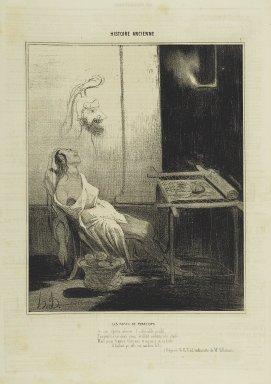 Honoré Daumier (French, 1808-1879). <em>Les Nuits de Pénélope</em>, April 24, 1842. Lithograph on newsprint, Sheet: 13 5/8 x 9 3/4 in. (34.6 x 24.8 cm). Brooklyn Museum, Gift of Shelley and David Garfinkel, 1996.225.79 (Photo: Brooklyn Museum, 1996.225.79_PS2.jpg)