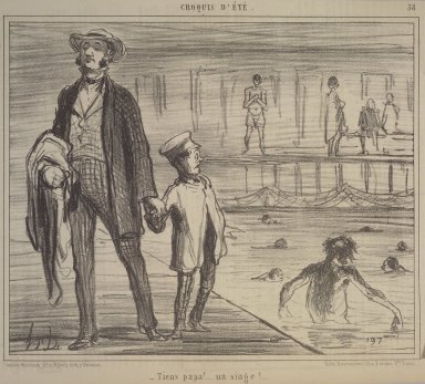 Honoré Daumier (French, 1808-1879). <em>Look, Papa, a Monkey! (Tiens Papa!...un singe!...)</em>, July 30, 1858. Lithograph on newsprint, Sheet: 9 1/2 x 14 3/16 in. (24.2 x 36.1 cm). Brooklyn Museum, Gift of Shelley and David Garfinkel, 1996.225.8 (Photo: Brooklyn Museum, 1996.225.8.jpg)