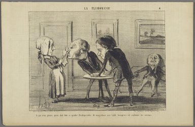 "Honoré Daumier (French, 1808-1879). <em>""Ce qui nous prouve qu'on doit bien...,""</em> May 25, 1853. Lithograph on newsprint, Sheet: 9 3/16 x 14 3/16 in. (23.3 x 36.1 cm). Brooklyn Museum, Gift of Shelley and David Garfinkel, 1996.225.86 (Photo: Brooklyn Museum, 1996.225.86_PS2.jpg)"