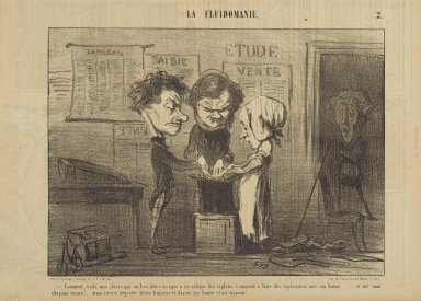 Honoré Daumier (French, 1808-1879). <em>Comment, Voilà mes Clercs...</em>, May 21, 1853. Lithograph on newsprint, Sheet: 9 5/8 x 14 1/16 in. (24.4 x 35.7 cm). Brooklyn Museum, Gift of Shelley and David Garfinkel, 1996.225.87 (Photo: Brooklyn Museum, 1996.225.87_PS2.jpg)