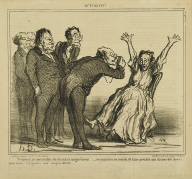 Honoré Daumier (French, 1808-1879). <em>Toujours les Merveilles...</em>, January 5, 1860. Lithograph on newsprint, Sheet: 11 3/16 x 11 7/8 in. (28.4 x 30.2 cm). Brooklyn Museum, Gift of Shelley and David Garfinkel, 1996.225.88 (Photo: Brooklyn Museum, 1996.225.88_PS2.jpg)