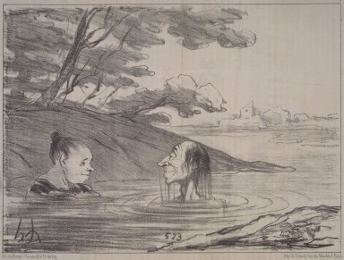 Honoré Daumier (French, 1808-1879). <em>Parisian Tritons--Male and Female (Tritons parisiens, - mâle et femelle)</em>, July 19, 1853. Lithograph on newsprint, Sheet: 9 1/4 x 14 1/4 in. (23.5 x 36.2 cm). Brooklyn Museum, Gift of Shelley and David Garfinkel, 1996.225.9 (Photo: Brooklyn Museum, 1996.225.9.jpg)