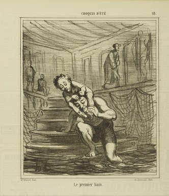 Honoré Daumier (French, 1808-1879). <em>Le Premier Bain</em>, August 30, 1865. Lithograph on newsprint, Sheet: 11 3/4 x 11 3/16 in. (29.8 x 28.4 cm). Brooklyn Museum, Gift of Shelley and David Garfinkel, 1996.225.93 (Photo: Brooklyn Museum, 1996.225.93_PS2.jpg)