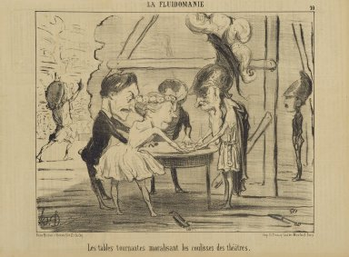 Honoré Daumier (French, 1808-1879). <em>Les Tables Tournantes Moralisant les Coulisses des Théâtres</em>, June 13, 1853. Lithograph on newsprint, Sheet: 9 5/8 x 14 1/16 in. (24.4 x 35.7 cm). Brooklyn Museum, Gift of Shelley and David Garfinkel, 1996.225.96 (Photo: Brooklyn Museum, 1996.225.96_PS2.jpg)