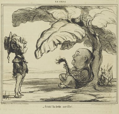 "Honoré Daumier (French, 1808-1879). <em>""Cristi! la belle oseille!...</em>, Januari 15, 1859. Lithograph on newsprint, Sheet: 17 1/16 x 11 5/8 in. (43.3 x 29.5 cm). Brooklyn Museum, Gift of Shelley and David Garfinkel, 1996.225.98 (Photo: Brooklyn Museum, 1996.225.98_PS2.jpg)"