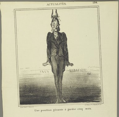 Honoré Daumier (French, 1808-1879). <em>Une Position Gênante à Garder Cinq Mois</em>, September 6, 1869. Lithograph on newsprint, Sheet: 16 7/8 x 11 1/8 in. (42.9 x 28.3 cm). Brooklyn Museum, Gift of Shelley and David Garfinkel, 1996.225.99 (Photo: Brooklyn Museum, 1996.225.99_PS2.jpg)