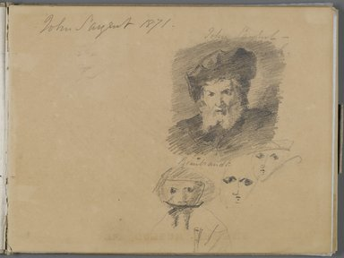 John Singer Sargent (American, born Italy, 1856-1925). <em>Sketchbook</em>, 1871-1872. Graphite, charcoal, watercolor and white chalk on paper, Sketchbook: 9 3/16 x 11 7/8 x 1/2 in. (23.3 x 30.2 x 1.3 cm). Brooklyn Museum, Gift of Bronson Binger, 1996.231 (Photo: Brooklyn Museum, 1996.231_p01_PS2.jpg)