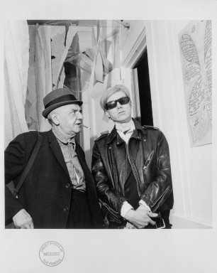 Weegee (Arthur Fellig) (American, 1899-1968). <em>Self Portrait with Andy Warhol</em>, 1965. Gelatin silver photograph, Image: 10 3/8 x 10 15/16 in. (26.4 x 27.6 cm). Brooklyn Museum, Gift of Eileen and Michael Cohen, 1996.237.10. © artist or artist's estate (Photo: Brooklyn Museum, 1996.237.10_SL1.jpg)