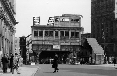 Vivian Cherry (American, 1920-2019). <em>Tearing Down of the 3rd Avenue EL</em>, 1955. Gelatin silver photograph (vintage), 8 3/4 x 13 3/8 in. (22.4 x 34.0 cm). Brooklyn Museum, Gift of Steven Schmidt, 1996.241.21. © artist or artist's estate (Photo: Brooklyn Museum, 1996.241.21_bw.jpg)