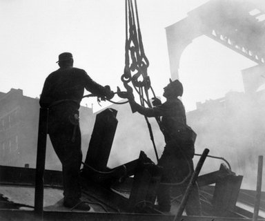 Vivian Cherry (American, 1920-2019). <em>Tearing Down of the 3rd Avenue EL (Demolition Men on Girders)</em>, 1955. Gelatin silver photograph, image: 9 1/8 x 13 1/2 in. (23.2 x 34.3 cm). Brooklyn Museum, Gift of Steven Schmidt, 1996.241.32. © artist or artist's estate (Photo: Brooklyn Museum, 1996.241.32_bw.jpg)