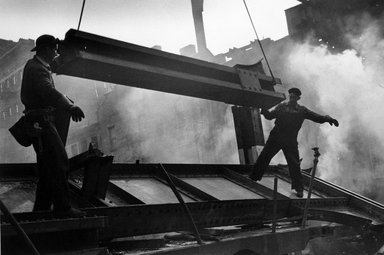 Vivian Cherry (American, 1920-2019). <em>Watching the Tearing Down of the 3rd Avenue EL</em>, 1955. Gelatin silver photograph (vintage), 9 x 13 1/2 in. (22.8 x 34.5 cm). Brooklyn Museum, Gift of Steven Schmidt, 1996.241.38. © artist or artist's estate (Photo: Brooklyn Museum, 1996.241.38_bw.jpg)
