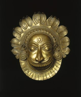 <em>Mask of Ferocious Bhuta Deity</em>, ca. 18th century. Brass, 18 3/4 × 16 7/16 × 7 1/2 in. (47.6 × 41.8 × 19.1 cm). Brooklyn Museum, Purchase gift of Dr. Bertram H. Schaffner, 1996.24. Creative Commons-BY (Photo: Brooklyn Museum, 1996.24_SL1.jpg)