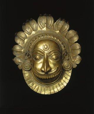 <em>Mask of Ferocious Bhuta Deity</em>, ca. 18th century. Brass, 18 3/4 × 16 7/16 × 7 1/2 in. (47.6 × 41.8 × 19.1 cm). Brooklyn Museum, Purchase gift of Dr. Bertram H. Schaffner, 1996.24. Creative Commons-BY (Photo: Brooklyn Museum, 1996.24_SL1.jpg)