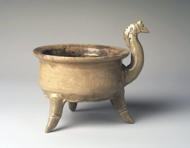 <em>Tripod Incense Burner, Yue Ware</em>, 265-589 C.E. Glazed stoneware, 4 1/2 x 5 1/4 in. Brooklyn Museum, Gift of George and Katharine Fan, 1996.26.17. Creative Commons-BY (Photo: Brooklyn Museum, 1996.26.17_transp6298.jpg)