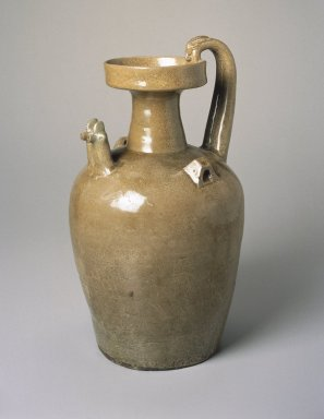 <em>Double Chicken-Headed Ewer</em>, 581-618 C.E. Yue ware, stoneware, glaze, 14 3/8 x 8 in. (36.5 x 20.3 cm). Brooklyn Museum, Gift of Dr. and Mrs. George J. Fan, 1996.26.2. Creative Commons-BY (Photo: Brooklyn Museum, 1996.26.2_SL1.jpg)