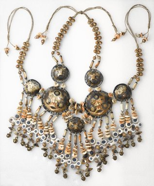 Norman Mizuno (American, born 1948). <em>Necklace</em>, ca. 1990. Glazed earthenware, metal, textile, 13 1/2 x 9 x 3/4 in. (34.3 x 22.9 x 1.9 cm). Brooklyn Museum, Gift of the artist and Alan J. Davidson, 1996.31. Creative Commons-BY (Photo: Brooklyn Museum, 1996.31_PS9.jpg)