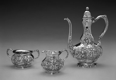 Unger Brothers (American, 1872-1919). <em>Coffee Pot</em>, ca. 1900. Silver, ivory, 8 1/4 x 6 5/8 x 3 1/2 in. (21.0 x 16.8 x 8.9 cm). Brooklyn Museum, Gift of Mrs. John H. Livingston, 1996.37.1. Creative Commons-BY (Photo: , 1996.37.1_1996.37.2_1996.37.3_bw.jpg)