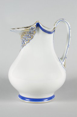 Ovington Brothers. <em>Pitcher</em>, 2nd half 19th century. Glazed earthenware, 9 3/4 x 7 3/8 x 6 1/2 in. (22.2 x 18.7 x 16.5 cm). Brooklyn Museum, Gift of Mrs. John H. Livingston, 1996.37.41. Creative Commons-BY (Photo: Brooklyn Museum, 1996.37.41_PS5.jpg)